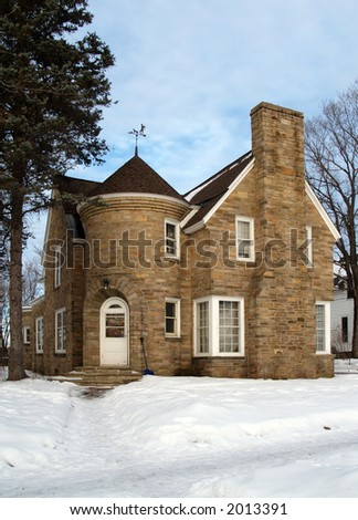 House that looks like a castle with snow blue sky stock for Houses that look like castles