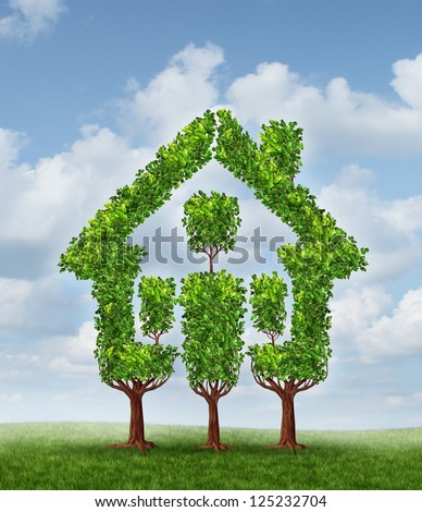 House Tree as a symbol of real estate planning and family home investing for property wealth strategy as a group of trees landscaped to form the shape of a residential structure on a sky background.