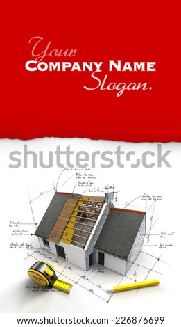 House under construction on top of blueprints with handwritten notes and measures