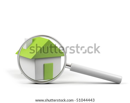 House under magnifying glass on white background.