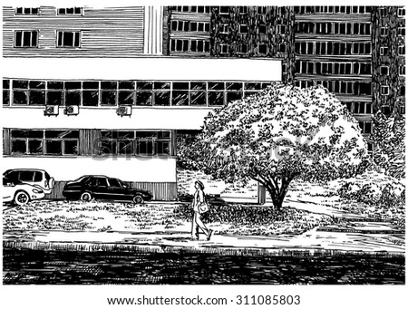 House wall. City view urban scene. Black and white dashed style sketch, line art, drawing with pen and ink. Western classical trend of book illustration and comic art. Retro vintage picture.