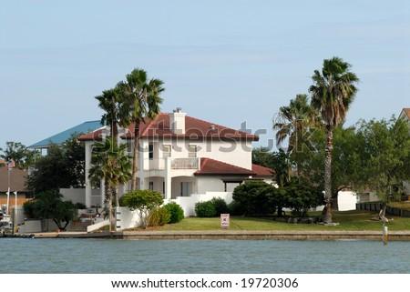 House waterside on Padre Island, Southern Texas, USA