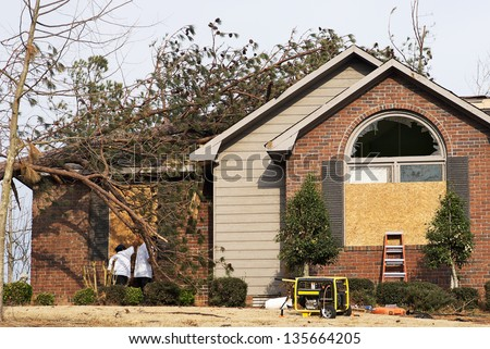 House with a fallen pine tree on the roof. A tornado damaged this home. Unidentifiable Workers are boarding up the windows.
