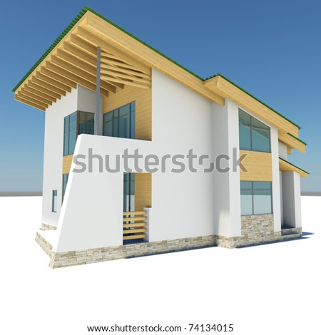 house with a green roof is on a white ground against the blue sky
