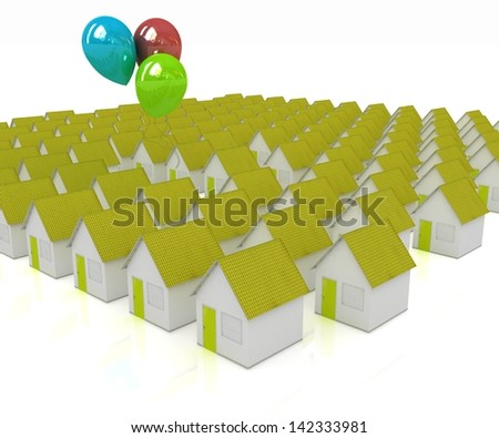 House with colorful balloons #142333981
