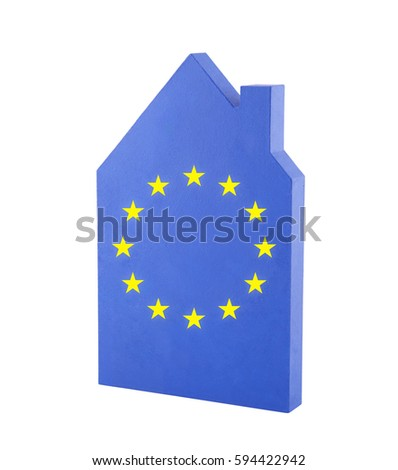 House with European Union flag  #594422942