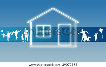 House with family silhouette