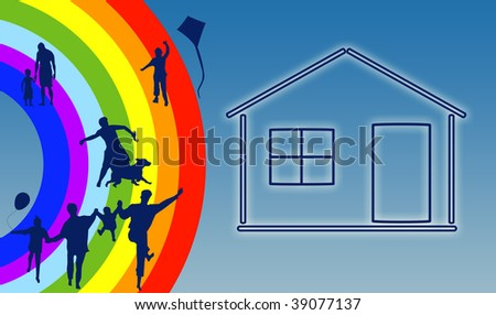 House with family silhouette on rainbow background - stock photo