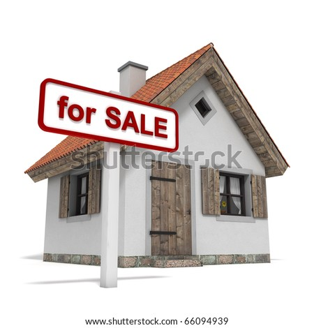 "house with ""for sale"" sign, isolated on white background"