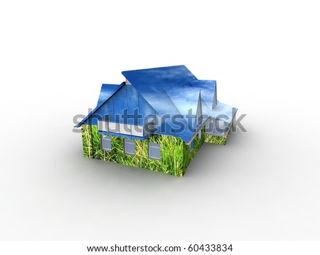 House with grass and sky. Concept - eco house.