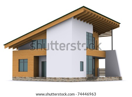 house with green roof. 3d rendering on white background