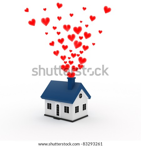 House with hearts coming out of its chimney stock photo 83293261