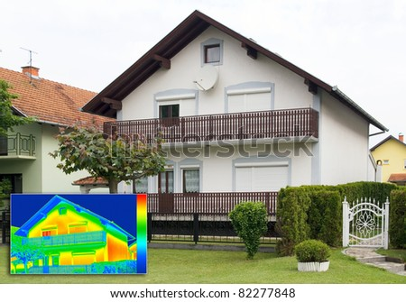House with Infrared thermovision image showing lack of thermal insulation