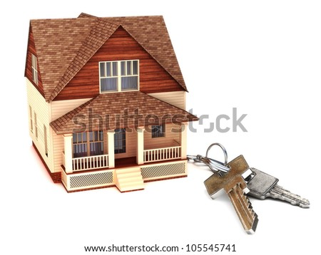 House with keys, home buying,ownership or security concept