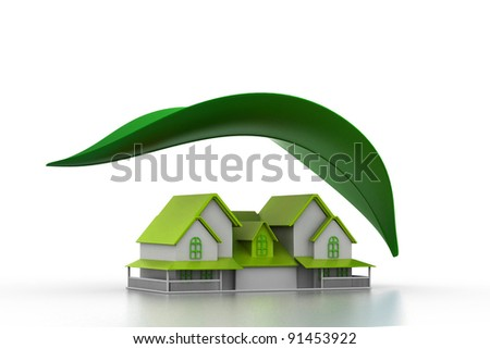 House with leaf in isolated background