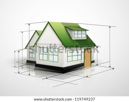 house with measurement lines on a light background