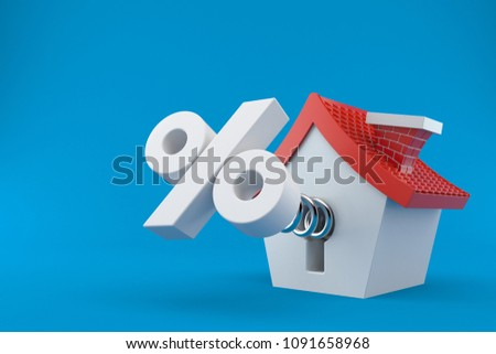 House with percent symbol isolated on blue background. 3d illustration