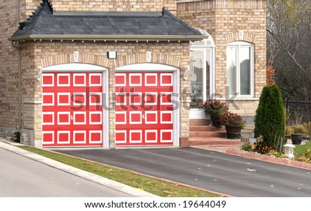 House with red garage doors