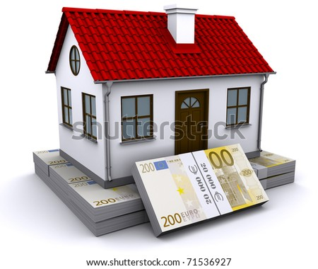 house with red roof on a bundle of euro