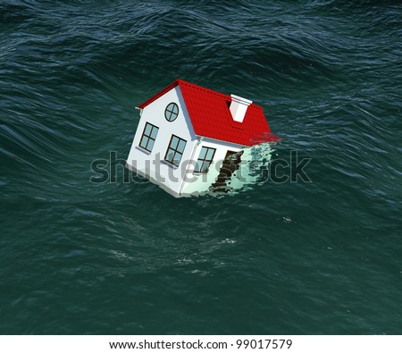 House with red roof sinks in water. 3d rendering - stock photo