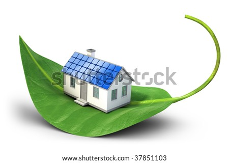 House with solar cells sitting on leaf - Alternative energy concept