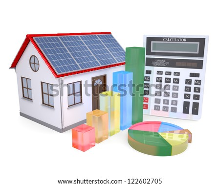 House with solar panels, a calculator and graph. Isolated render on a white background