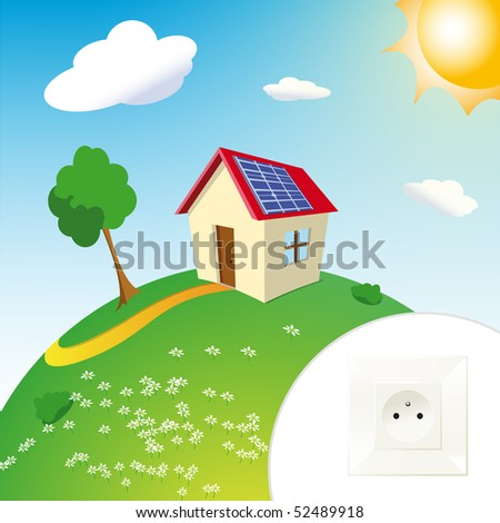 house with solar panels on mount with sun