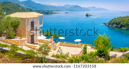 house with terrace for rent overlooking the bay on the Amalfitan coast of Italy, Campania, Italy
