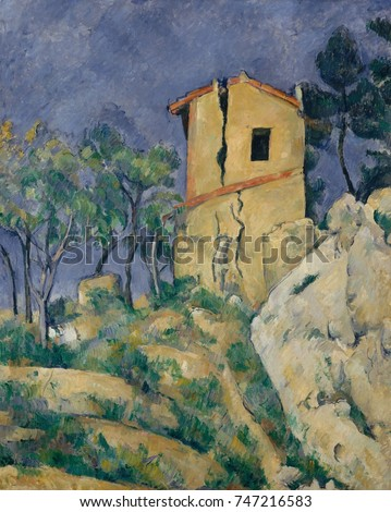 House with the Cracked Walls, by Paul Cezanne, 1892-94, French Post-Impressionist oil painting. This abandoned house was near his Aix-en-Provence studio