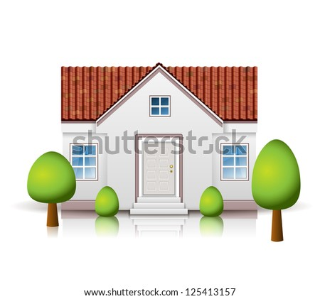 House with tiled roof isolated on white. Raster version