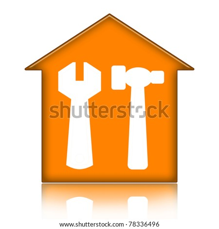 House with tools isolated over white background
