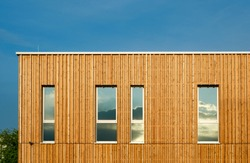 House with wooden facade ecological building