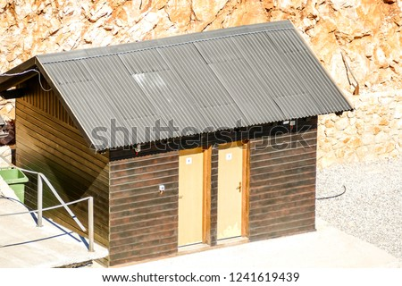 house with wooden roof, digital photo picture as a background