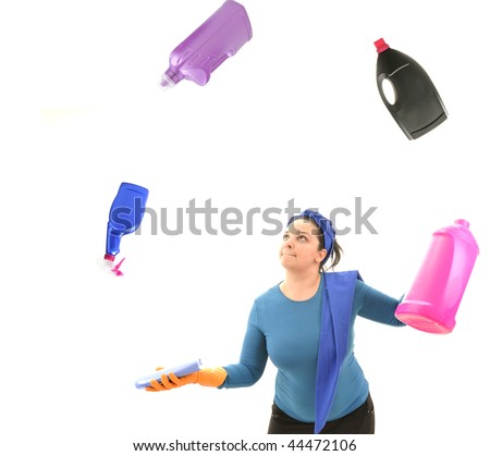 House woman juggling with colorful detergent bottles. White background studio picture.