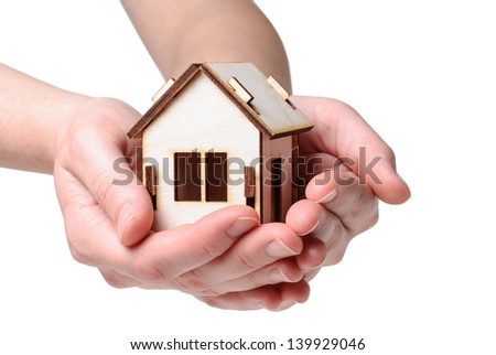 House Wooden in both hands - isolated on white background