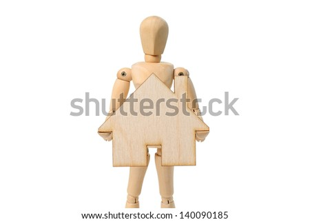 House Wooden sign and Wooden mannequin  - isolated on white background