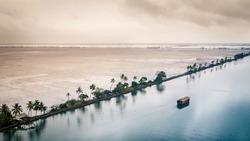 Houseboat in Kerala backwaters, India