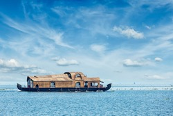 Houseboat in Vembanadu Lake, Kerala, India