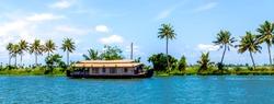 Houseboat on Kerala backwaters, in Alleppey, Kerala, India