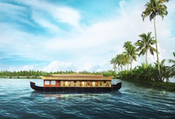 Houseboat on Kerala backwaters,kerala,india - IMAGE