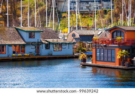 Houseboats and floating homes on Lake Union, Seattle, Washington