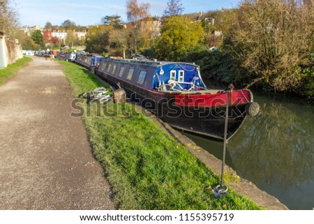 Houseboats at Bath water channels. It is an amazing walk along the waterways and seeing the lifestyle on a barge. Bath, UK