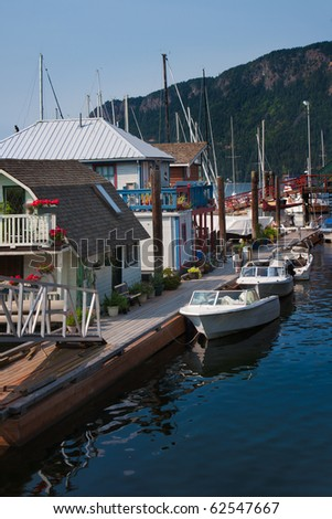 Houseboats at Cowichan Bay which is located on Vancouver Island in British Columbia, Canada.