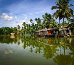Houseboats in backwaters of Kerala, India