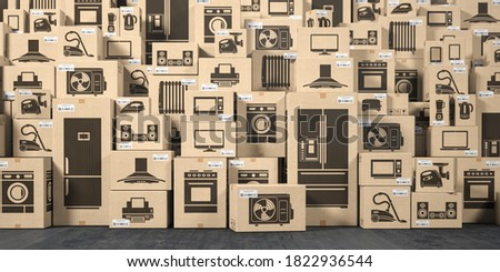 Household appliances and kitchen electronics in cardboard boxes in warehouse. Online purchase, shopping  and delivery concept. 3d illustration Сток-фото ©