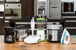 Household appliances -  Different Appliances On Counter In The Kitchen