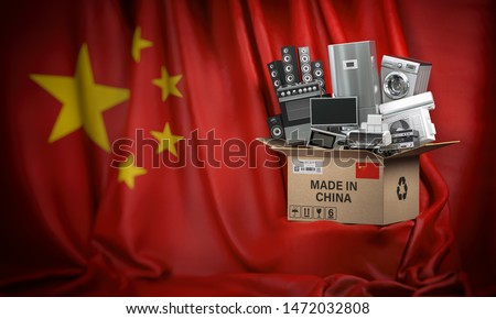 Household appliances made in China. Home kitchen technics in a cardboard box producted and delivered from China. 3d illustration