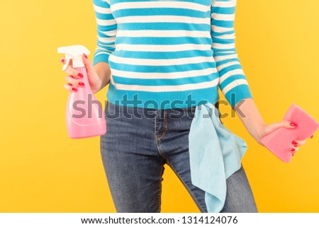 Household chores. Organized housewife. Woman holding atomizer and sponge with cloth in pocket. #1314124076