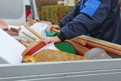 Household clearance, the household contents are placed in a trailer