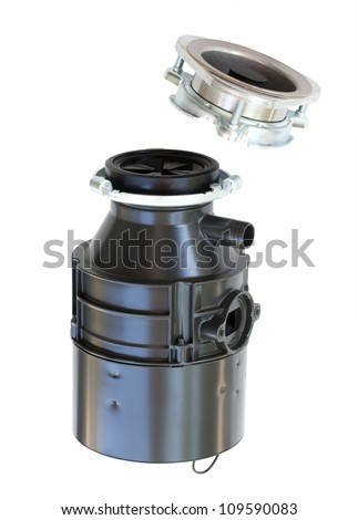 Household food waste garbage disposal detached; isolated on white background